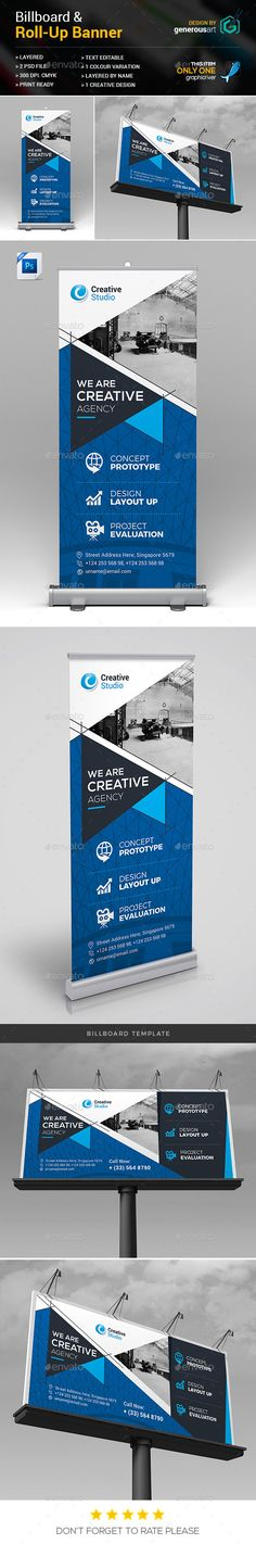 Billboard & Roll-Up Banner - #Signage Print #Templates Download here:  https://graphicriver.net/item/billboard-rollup-banner/19535917?ref=alena994