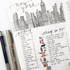 Bullet journal trip planner, city drawing, packing list, things to do list. | @retrostudies