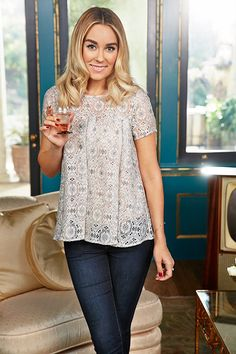 Lauren Conrad wearing an LC Lauren Conrad for Kohl's Lace Top