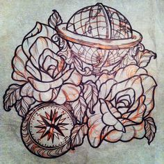 compass globe | globe #compass #roses #neotraditional #tattoo | Flickr - Photo ...