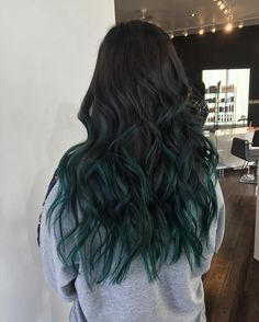 My emerald green balayage hair done at Fox & Beau Salon by Phil. My emerald green balayage hair done at Fox & Beau Salon by Phil. Ombre Hair Color, Cool Hair Color, Green Hair Ombre, Emerald Green Hair, Dark Green Hair, Fall Hair Colors, Hair Dye Colors, Grey Balayage, Partial Balayage