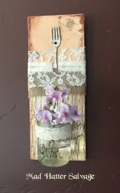 Reclaimed Lumber Mason Jar Hanger Wall Plaque  by MadHatterSalvage