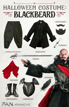 Dress the part of PAN's Blackbeard, the pirate all pirates fear, played by Hugh Jackman. An array of black clothing, red sash, boots, armor, sword, feathers, earring, and beard are all you need to achieve this look for Halloween.