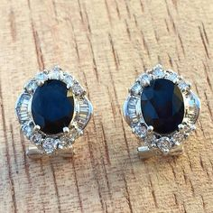 Diamond And Sapphire Earrings by BFJewelryEst1984 on Etsy