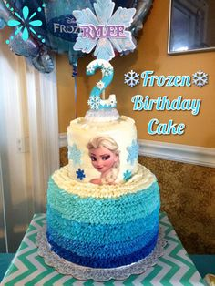 A SIMPLE FROZEN THEMED BIRTHDAY CAKE FEATURING ELSA Heres The Frozen Birthday Cake That I