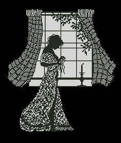 0 point de croix monochrome femme devant sa fenetre - cross stitch girl, lady in front of her window