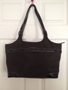 Chocolate Brown Vintage Polyester with Leather by touchofclass123