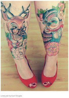 Deer Owl tattoo by Guen Douglas