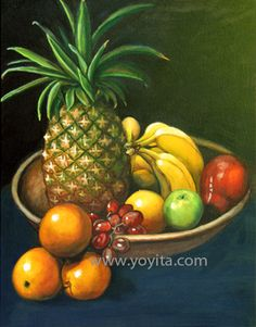 fruits in a clay bowl pinneaple bananas pear apple orange grapes oil painting by Yoyita