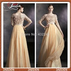Elegant Lady Perfect Evening Dresses Half Sleeves Appliques A-line Tulle Floor Length Special Occasion Wedding Events Dress Gown $129.00