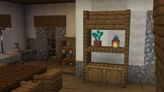 Simple cupboard / shelf design using barrels and trapdoors - DetailCraft Minecraft House Plans, Minecraft Cottage, Easy Minecraft Houses, Minecraft Castle, Minecraft Room, Minecraft House Designs, Minecraft Decorations, Minecraft Creations, Minecraft Crafts