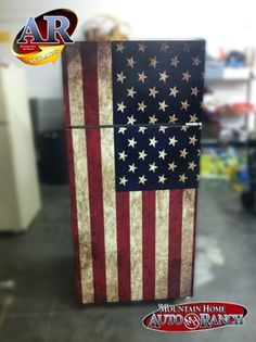 USA Flag Refrigerator wrap sticker Every order is custom size to fit the product that your going to wrap. You get a Squeegee and blade with every order Refrigerator wraps - Rm wraps Key features - Mad Garage Shop, Garage House, Refrigerator Wraps, Man Cave Refrigerator Ideas, Home Projects, Projects To Try, Man Cave Garage, Man Cave Bar, Garage Storage