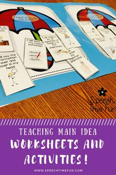 Teaching Main Idea Worksheets and Activities: low prep and no prep fun for working on main idea in speech therapy