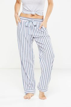 Non Cuffed Flannel Pant, LUXE STRIPE/BLUE