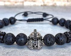925 Sterling Silver Spartan Bracelet Mens Onyx by Miaudesignco