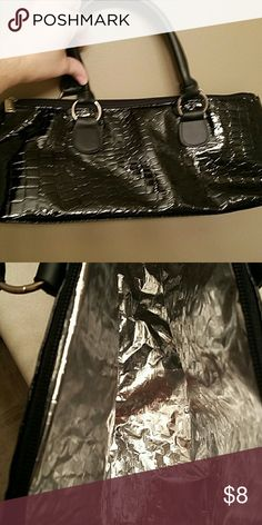 NWOT Insulated wine purse Black patent leather Bags Shoulder Bags