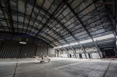 Abandoned Autogyro Found in Cavernous Airplane Hangar Ivana Santacruz, Airplane Interior, Abandoned Warehouse, Warehouse Design, Abandoned Churches, Space Frame, Sci Fi Environment, Ww2 Planes, Industrial House
