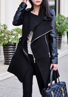 2018 Time-limited New Casual Full Coats Abrigos Mujer Europe And The In Winter Street Jacket Spell Leather Sleeves Coat Dress Winter Stil, Long Winter, Fall Winter, Langer Mantel, Look Chic, Looks Style, Mode Style, Hollywood Stars, Coats For Women