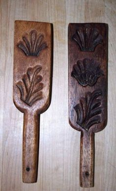 Pair-of-Antique-Wood-Carved-Cookie-Butter-Molds-Folk-Art-Wooden-Primitive