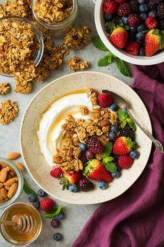Easy to make granola made with the delicious combination of honey and almonds. Perfect paired with Greek yogurt or layered in a parfait.