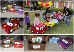 Cars themed cardboard race cars - This is too cute!
