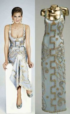 "The images of Diana wearing the gown were used on the cover of the November 1997 ""Harper's Bazaar Diana A Tribute to a Princess"" issue and in ""Diana: The Portrait"" by Rosalind Coward. The embellished Gianni Versace gown worn by Princess Diana, above, in a 1991. Sells in Auction for $200,00"