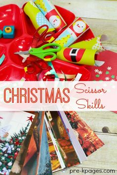 Christmas Scissor Cutting Skills for Preschool and Kindergarten. Develop fine motor skills with this fun, hands-on Christmas themed cutting station!