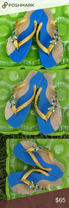 Turquoise rhinestones Flip Flops Sparkling Gold Fabric, costumazed Flip Flops and Silk Thread. Aloha Sandals Shoes Sandals