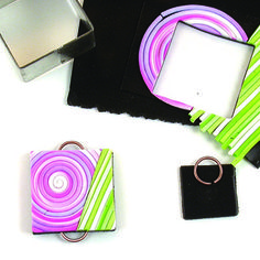 Create bold geometric pendant from multi-coloured strings of polymer clay. By Emma Ralph