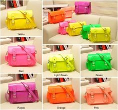 """SMALL SIZE 11"""" Neon Cambridge Style Satchel Camera Bag Handmade in the China 7 x Color"""