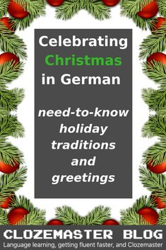 Before going into a tizzy about your Holiday to-do list for this year, let's take a moment and look at the various German Christmas traditions as well as some linguistic aspects of wishing someone a Merry Christmas in German! Merry Christmas German, German Christmas Traditions, German Christmas Markets, Merry Christmas Wishes, Holiday Traditions, German Christmas Decorations, Christmas Drinks, Christmas Baking, Christmas Holidays
