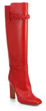 $1,845, Red Leather Knee High Boots: Valentino Leather Knee High Boots. Sold by Saks Fifth Avenue.