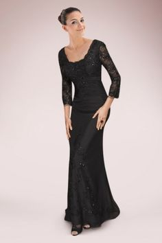 Glamorous Black Mother of The Bride Dress with Lace and Appliques