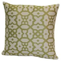 "Throw pillow with a houndstooth print and double-sided design. Made in the USA.   Product: PillowConstruction Material: Polyester cover and polyester fillColor: GreenFeatures:  Double sided designHidden zipper closureInsert included Made in the USA Dimensions: Small: 18"" x 18""Large: 24"" x 24""Cleaning and Care: Spot clean only"