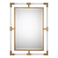 Balkan Modern Gold Wall Mirror Uttermost Rectangle Mirrors Home Decor