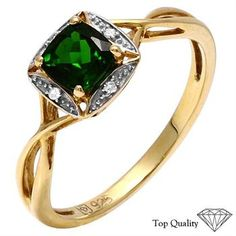 925 Silver Chrome Diopside and Diamond Ring RETAIL $115.00   Property Room
