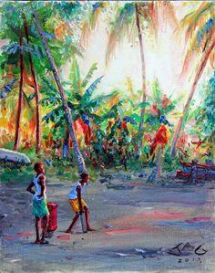 Labatwi Cricket 1 Art Cube, Haitian Art, British Indian Ocean Territory, Caribbean Art, Black Love Art, Tropical Art, West Indian, Happy Art, African American Art
