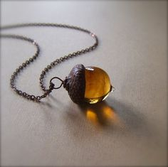 Glass Acorn Autumn Necklace in Streaky by bullseyebeads on Etsy, Not quite ready to entirely grow up.