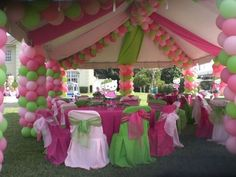 Pink & Green party decorations