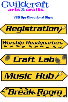 VBS Spy Directional Signs from Guildcraft Arts & Crafts! Double-sided cardboard signs (each side is the same). 4 x Package of