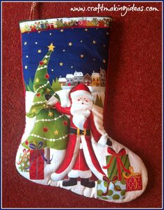 Father Christmas with Tree Quilted Christmas Stocking - one of the more modern Makower designs. A truly delightful childrens stocking which will last Quilted Christmas Stockings, Tree Quilt, Father Christmas, White Fabrics, 3d, Website, Medium, Create, Holiday Decor