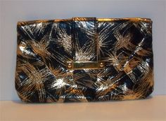 Gold and Black Retro Metallic Clutch $14.00