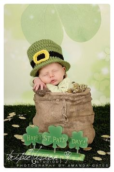 Newborn's St. Patrick's Day Leprechaun Green Crochet Top Hat on Etsy, $24.00