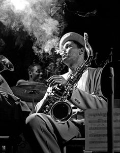 """Dexter Gordon, NYC, 1948. Photo by Herman Leonard. Part of a series of 6 great photos """"Above all, enjoy the music"""". Click through."""