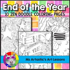 10 zentangle, coloring pages to celebrate the end of the year! Mindful, zen, coloring sheets for all ages. All 10 pages are hand drawn by Ms Artastic. These coloring sheets are very detailed and are a great way to keep your students busy during the End of the Year cool down!Need End of the Year Activities for Upper Elementary or Middle School Students?