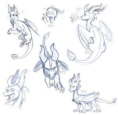 Spyro sketchdump by aacrell on DeviantArt Fantasy Kunst, Fantasy Art, Spyro The Dragon Game, Dragon Anatomy, Dragon Poses, Dragon Sketch, Dragon Artwork, Mythical Creatures Art, Creature Drawings