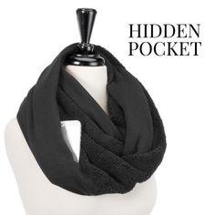 Black infinity pocket scarf with a hidden pocket - New #Scarf