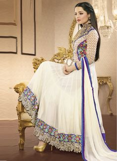 Shop white color party wear anarkali semi stitched suit and get 5% discount at #craftshopsindia   #anarkalisuits #designeranarkalisuits #partyanarkalisuits