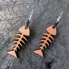 Wooden Minimalist Fish Bone Earrings #bohojewelry #woodjewelry #fishjewelry
