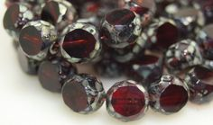 Czech Glass Beads, 12mm Faceted Table Cut, 10 Beads